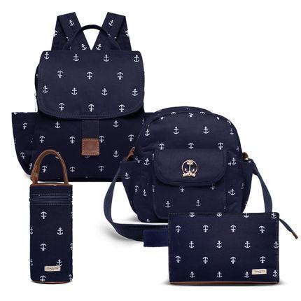 KIT-5-NAVY-MCN9043-FTTN9043-PMN9043-FN9043-kit-de-bolsas-maternidade-mochila-frasqueira-necessaire-porta-mamadeira-navy-marinho-classic-for-baby-bags