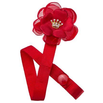 Prendedor de Chupeta Flor & Mini Coroa Vermelho - Roana