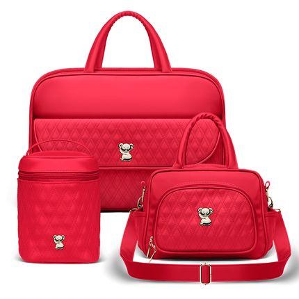 MIK1299-BBK1299-FTFK1299-Bolsa-Maternidade-Kit-3-Pecas-Golden-Koala-Vermlho---Classic-for-Baby-Bags