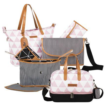 MB12MAN398.03---MB12MAN205.03---MB12MAN601.02-Bolsa-Maternidade-Manhattan-Rosa-Kit-3-pecas---Masterbag