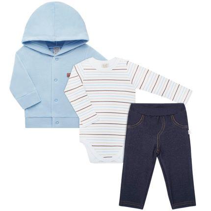 PL66019_A-moda-bebe-menino-conjunto-casaco-capuz-soft-azul-body-longo-suedine-listras-calca-jenas-fleece-Pingo-Lele-no-Bebefacil-loja-de-roupas-e-enxoval-para-bebes