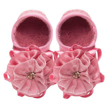 LK078.403_A-Moda-Menina-Meia-Sapatilha-PP-flor-Strass-Rose-Leke-no-Bebefacil-loja-de-roupas-e-enxoval-para-bebes