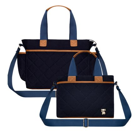 BHM9043-FTHP9043-A-Bolsa-Maternidade-Heloisa-M---Bolsa-Termica-Heloisa-P-Casual-em-sarja-Marinho---Classic-for-Baby-Bags