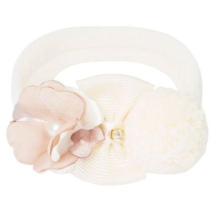 09650045542_A-moda-bebe-menina-acessorios-faixa-de-cabelo-meia-recem-nascido-flor-laco-pompom-marfim-rose-roana-no-bebefacil-loja-de-roupas-enxoval-e-acessorios-para-bebes