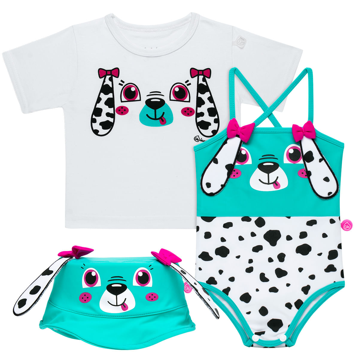 59ee82be1d44e Conjunto de Banho para bebe Dalmatians  Camiseta + Maiô + Chapéu ...