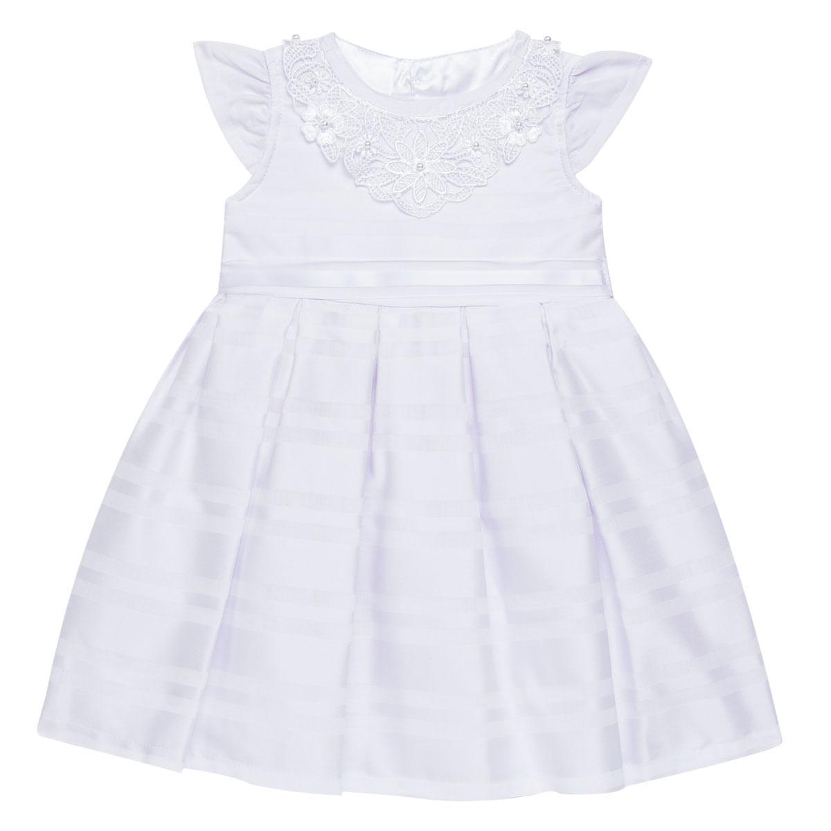 Vestido Para Bebê Em Tricoline Branco Sylvaz No Bebefacil