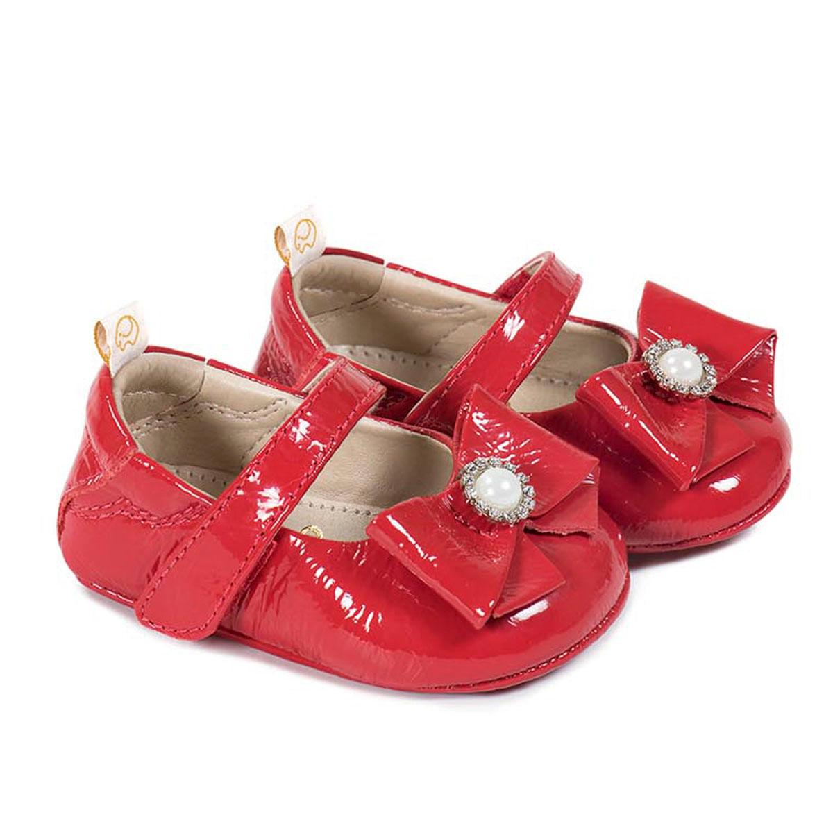 86fa191b088 Sapatilha para bebe em verniz Laço Vermelho Gambo