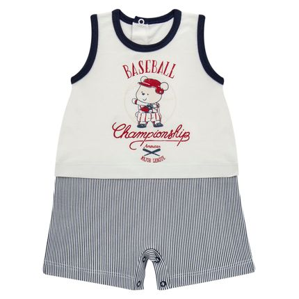 1e576a86412 Macacão regata para bebe em suedine Baseball League - Vicky Baby no  Bebefacil