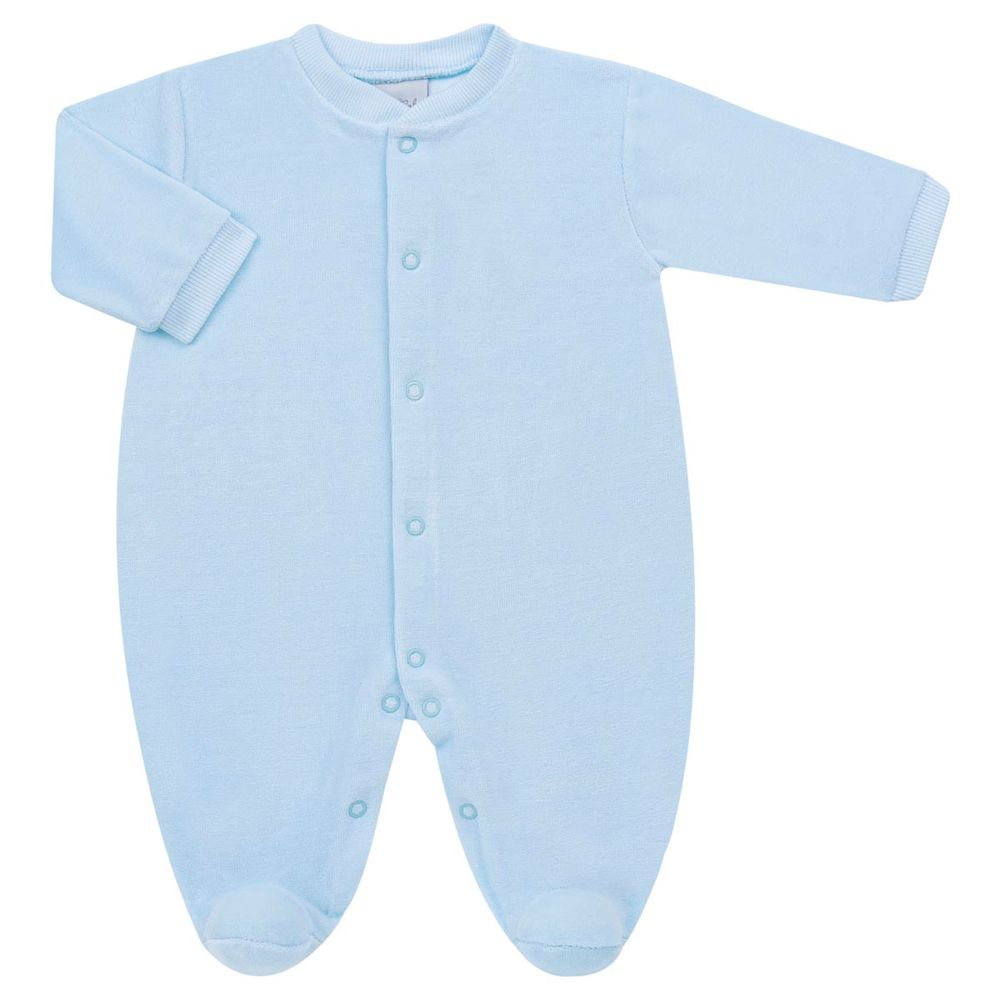 Macacão longo para bebe em plush Azul Tilly Baby no Bebefacil onde você  encontra tudo em roupas e enxoval para o seu bebê - bebefacil bb1f780f4c32a