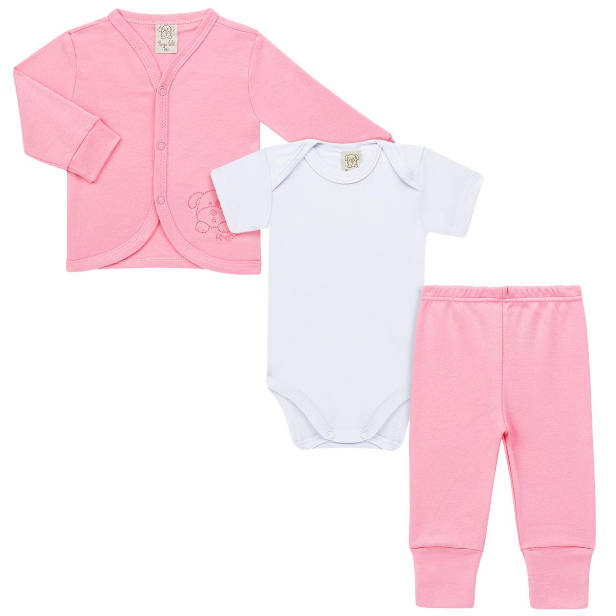 4512f3dbd4254 Conjunto Pagão para bebê Rosa   Casaquinho + Body curto + Calça - Pingo Lelê