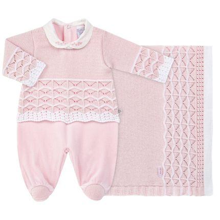 35f2d05f37 Jogo Maternidade para bebe com Macacão Blusê e Manta em tricot Letícia Beth  Bebê no Bebefacil a loja de roupas e enxoval para bebes - bebefacil