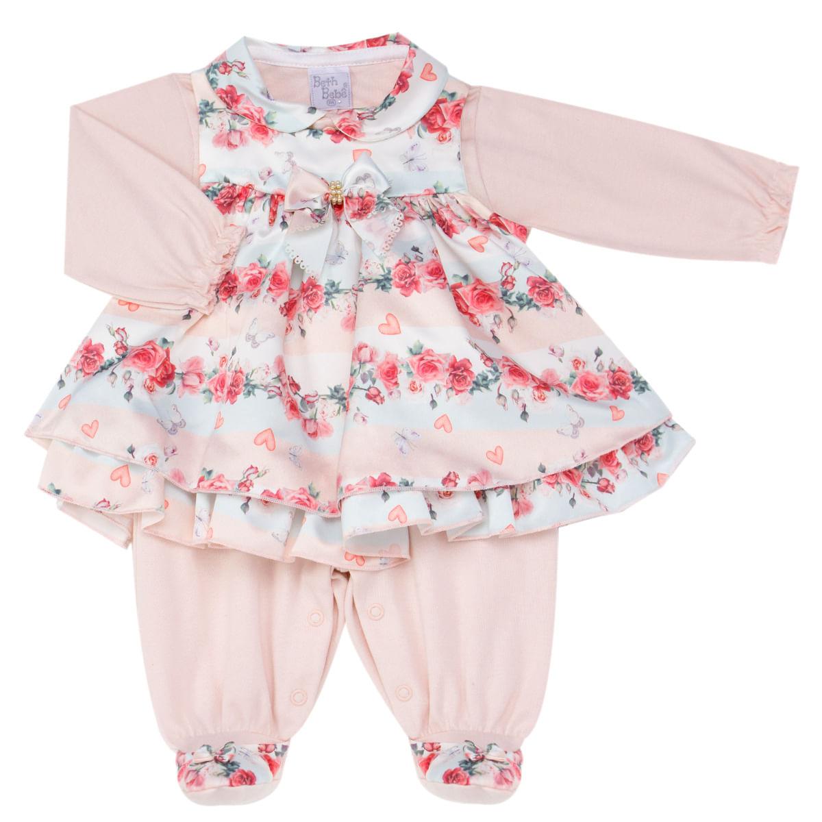 0345afea25 Macacão longo Vestido para bebe em cetim Clara - Beth Bebê no ...
