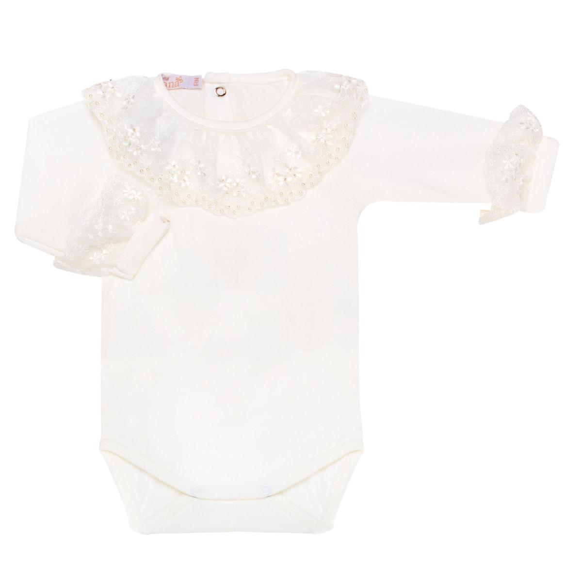 b081fcc06 Body longo em malha Renda Marfim - Roana no Bebefacil a loja onde voce  encontra tudo em roupas enxoval e acessorios para bebes - bebefacil