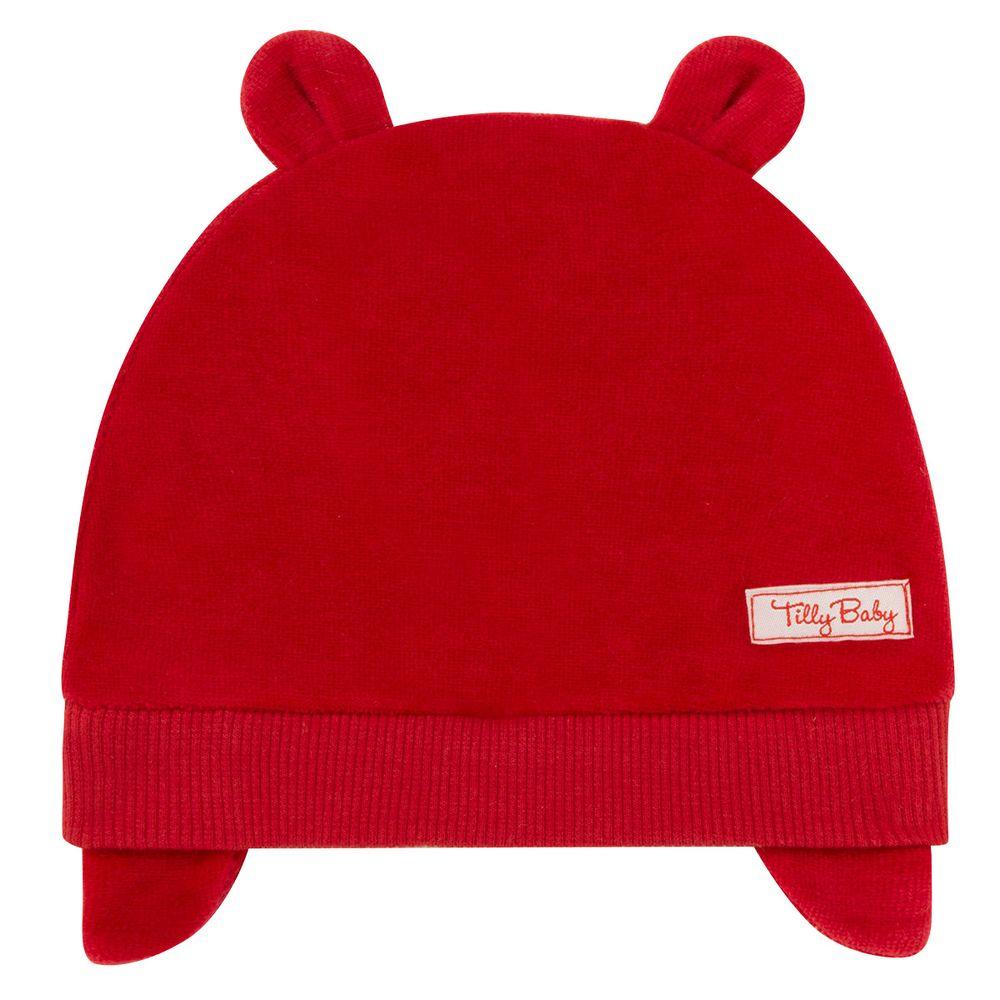 Touca Orelhinha para bebe em plush Vermelha Tilly Baby no Bebefacil ... b1440e6451a