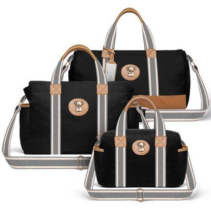MA9045-BSA9045-FSGC9045--53093-Bolsas-Maternidade-Kit-Adventure-Sarja-Preto---Classic-for-Baby-Bags