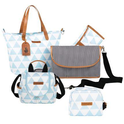 MB12MAN398.04 + MB12MAN205.04 + MB12MAN269.04 Bolsa Maternidade Kit 3 peças Manhattan Azul - Masterbag