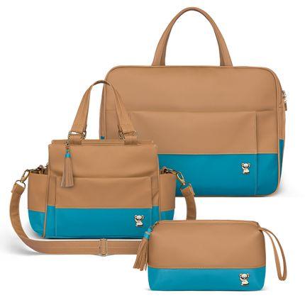 MCF9095-FTZCF9095-NCCF9095--Bolsa-Maternidade-Kit-3-Pecas--Due-Colors-Turquesa---Classic-for-Baby-Bags