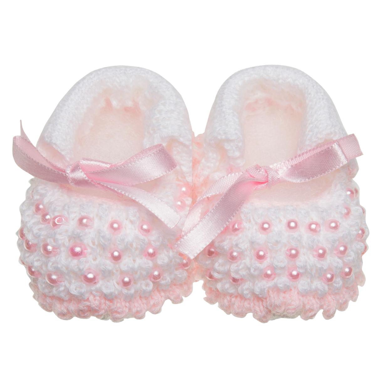 f89518cfa Sapatinho para bebe em tricot Mini Pérolas Rosa/Branca - Roana no Bebefacil,  onde você encontra tudo em roupas e enxoval para bebês - bebefacil