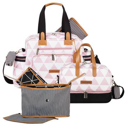 MB12MAN299.03---MB12MAN205.03---MB12MAN601.02-Bolsa-Maternidade-Manhattan-Rosa--Kit-3-Pecas---Masterbag