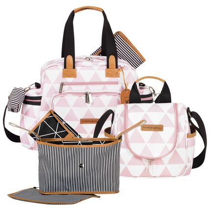 MB12MAN299.03---MB12MAN238.03---MB12MAN601.02-Bolsa-Maternidade-Manhattan-Rosa--Kit-3-pecas---Masterbag-