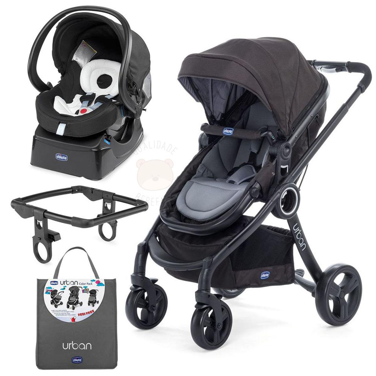 614f82a1e Urban Travel System: Carrinho Urban Plus + Color Pack + Adaptador + Bebê  Conforto Auto Fix Fast Chicco no Bebefacil - bebefacil