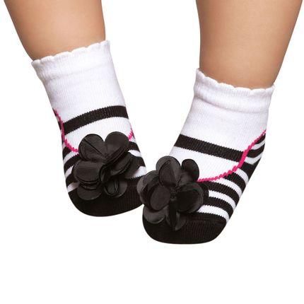 PK6935L-LISTR-moda-bebe-menina-meia-sapatilha-flor-e-listras-preta-Puket