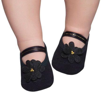 PK9033L-PT-moda-bebe-menina-meia-sapatilha-flor-preta-Puket