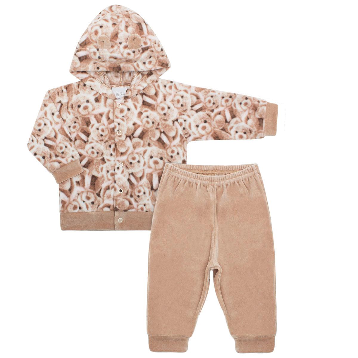 87411470e Casaco c/ capuz e Calça para bebe em soft Ursinhos - Tilly Baby no ...