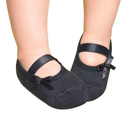 PK7039-PT-A-moda-bebe-menina-meia-sapatilha-laco-preto-Puket