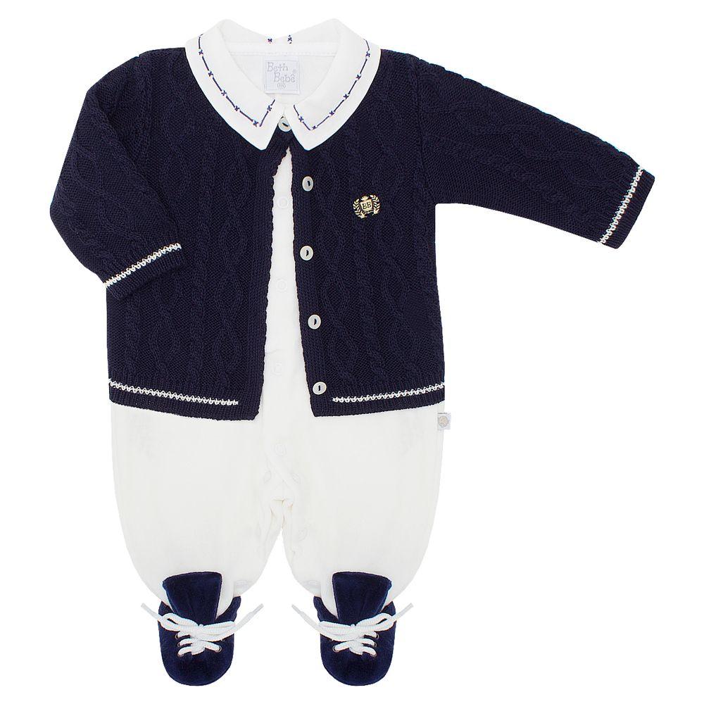 Macacão longo c  Casaco para bebê em tricot Theo - Beth Bebê no ... 7c8abdf9ba7