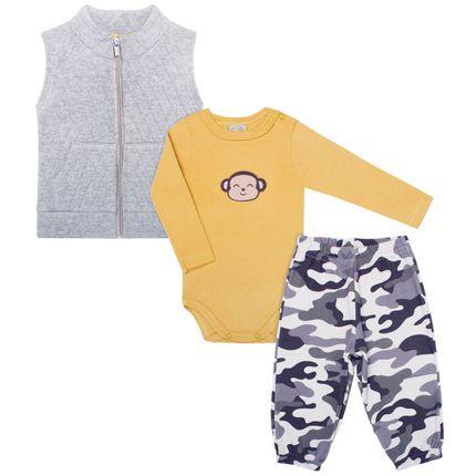 PL65981AM_A-moda-bebe-menino-conjunto-colete-body-longo-calca-camuflada-macaquinho-Pingo-Lele-no-Bebefacil-loja-de-roupas-e-enxoval-para-bebes