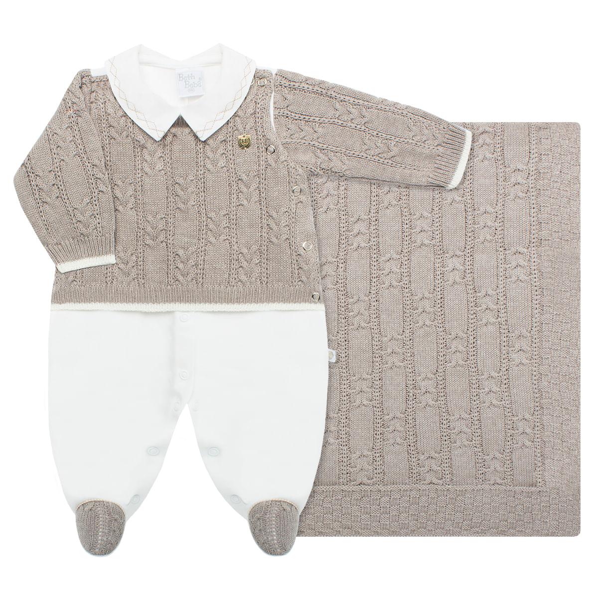 a10d6d0866 Jogo Maternidade para bebê  Macacão longo e Manta em tricot Bernardo ...