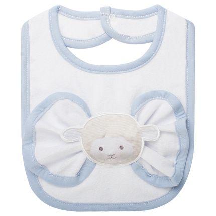 BABT4345_A-enxoval-e-maternidade-bebe-menino-babador-com-fraldinha-de-boca-em-atoalhado-ovelhinha-azul-petit-no-Bebefacil-loja-de-roupas-e-acessorios-bebes