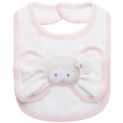 BABT4344_A-enxoval-e-maternidade-bebe-menina-babador-com-fraldinha-de-boca-em-atoalhado-ovelhinha-rosa-petit-no-Bebefacil-loja-de-roupas-e-acessorios-bebes