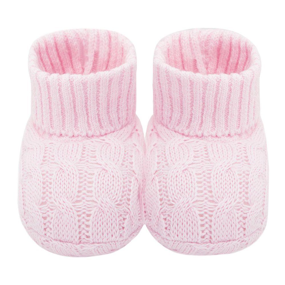 Botinha para bebê em tricot trançado Rosa - Mini Sailor 725415222cb