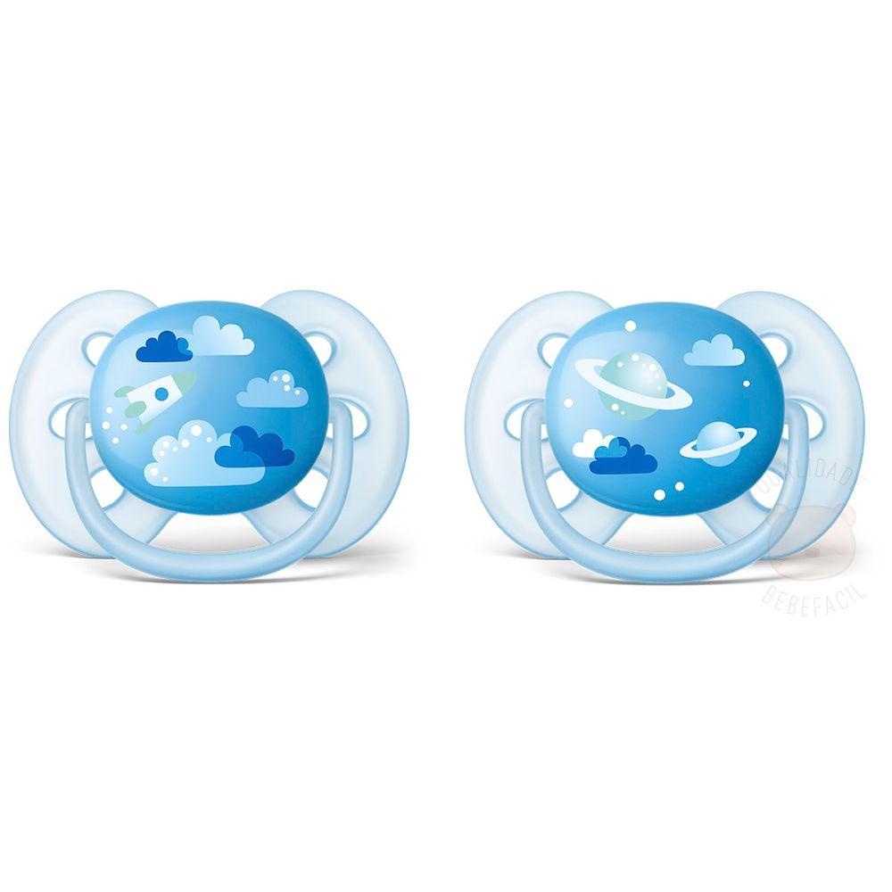 SCF22222-A-Chupeta-Ultra-Soft-2pcs--6-18m--Azul---Philips-Avent