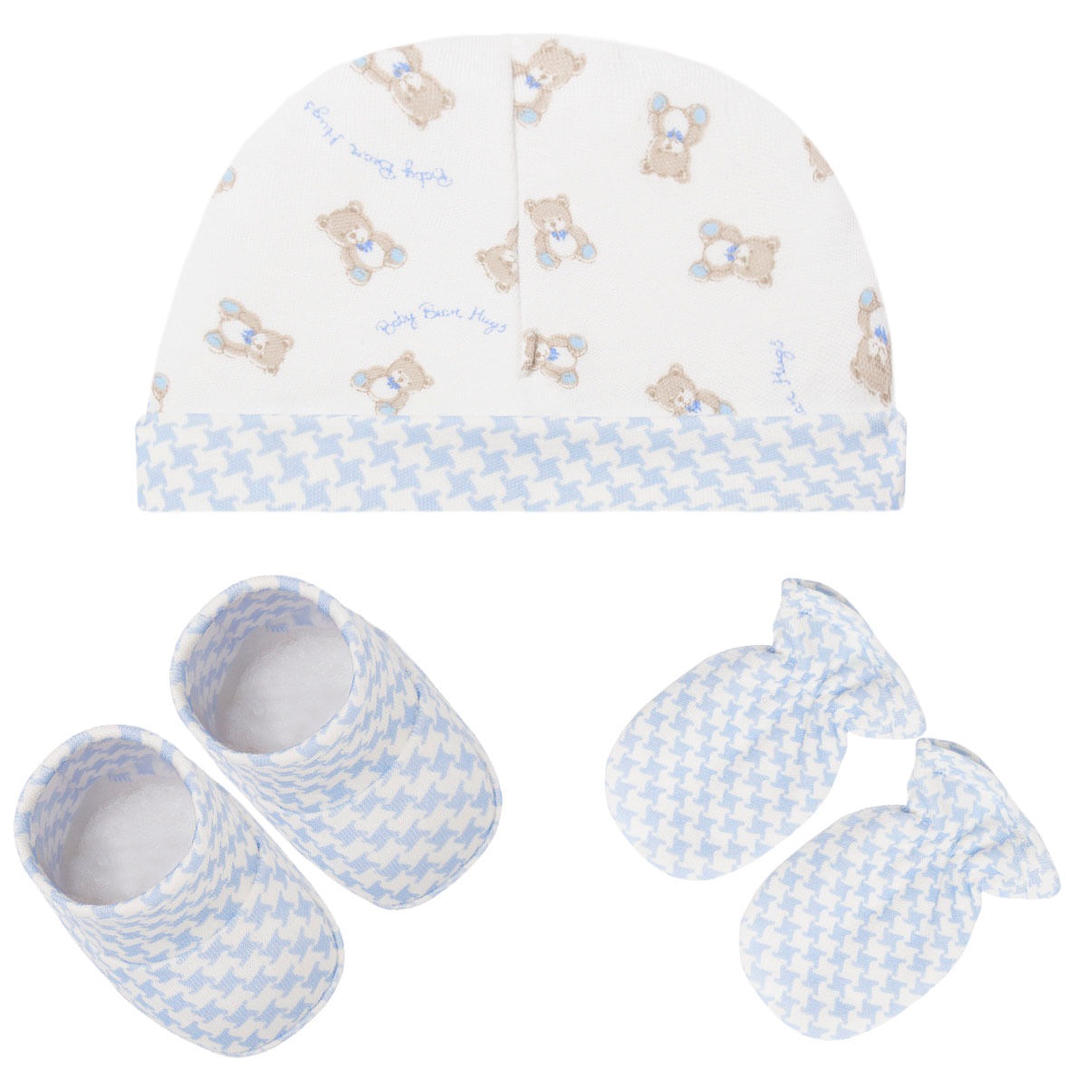 cd4decb2f7bad4 Kit c/ Touca, Luva e Sapatinho para bebê em suedine Baby Bear Azul ...