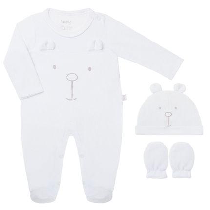 KIT30504_A-moda-bebe-menino-menina-macacao-longo-touca-luva-em-plush-branco-ursinho-hug-no-bebefacil-loja-de-roupas-enxoval-e-acessorios-para-bebes