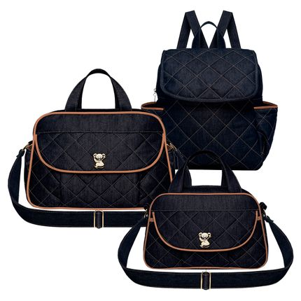 BAJ9091-BGJ9091-MCJ9091-A-Bolsa-Asturias---Bolsa-Termica-Galicia---Mochila-Maternidade-Golden-Denim-Camurca---Classic-for-Baby-Bags