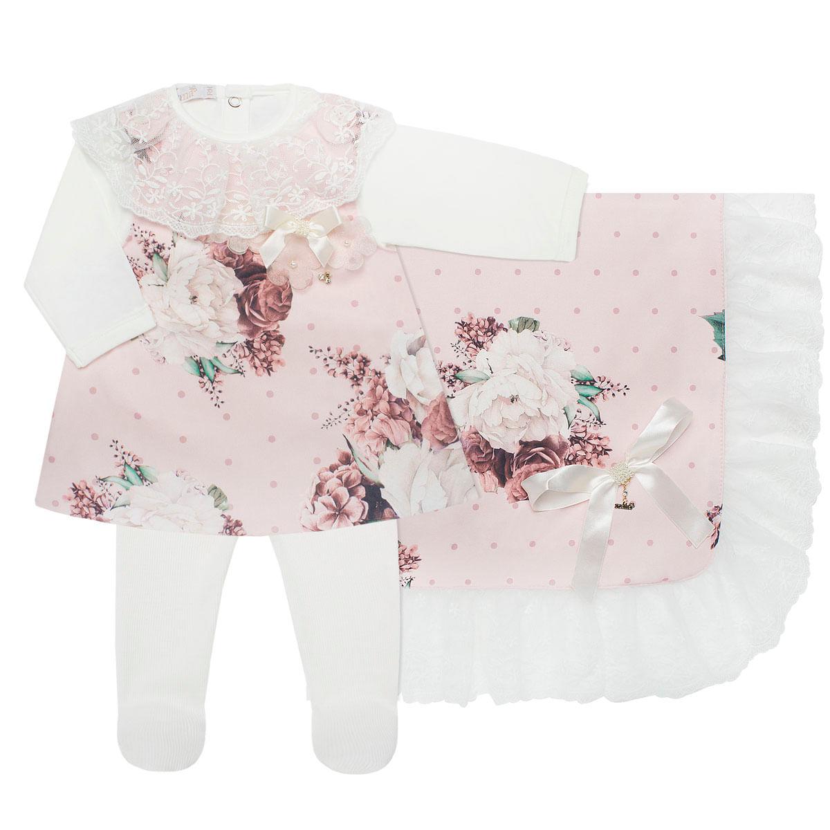 d71d3ee64 Saída Maternidade para bebê Bouquet: Vestido + Body longo + Calça + ...