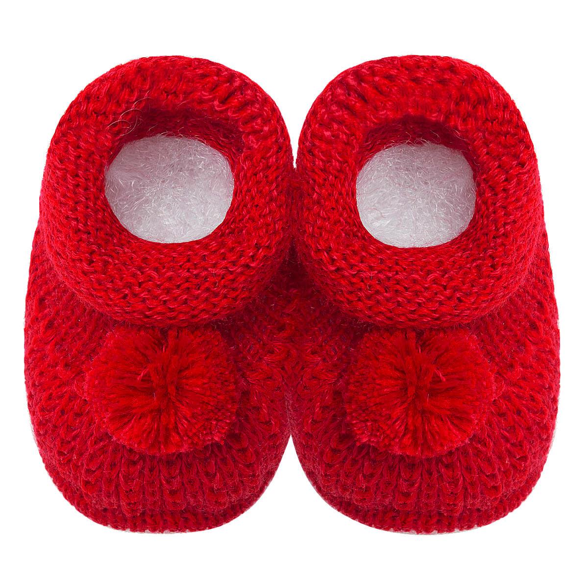 254623f69 Botinha pompom para bebê em tricot Vermelha - Roana no Bebefacil, onde você  encontra tudo em roupas e enxoval para bebê - bebefacil
