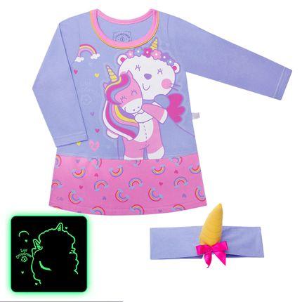 CAML3605_A-moda-infantil-menina-camisola-faixa-em-maha-brilha-no-escuro-unicornio-cara-de-crianca-no-bebefacil-loja-de-roupas-enxoval-e-aceeorios-para-bebes