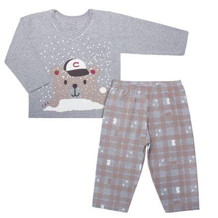 L3617_A-moda-bebe-menino-menina-pijama-longo-em-malha-mescla-snow-bear-cara-de-crianca-no-bebefacil-loja-de-roupas-enxoval-e-acessorios-para-bebes