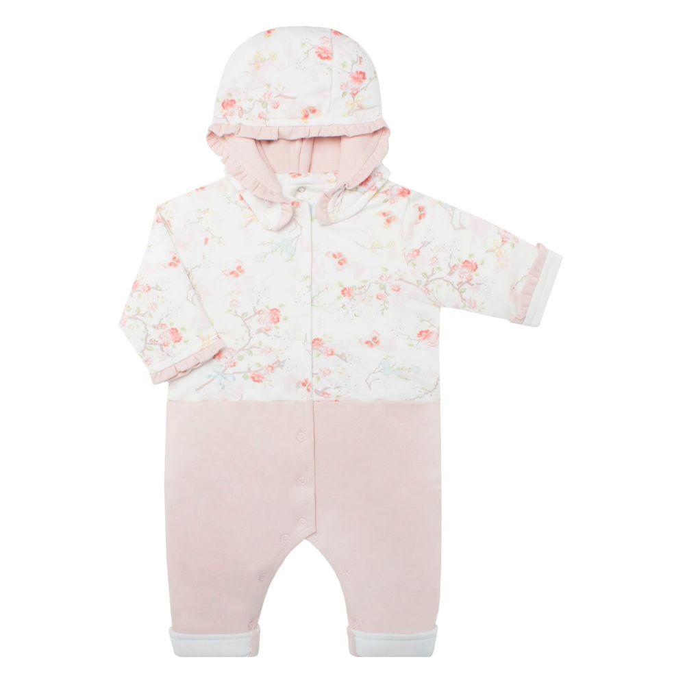 a9886aa039088 Macacão fofinho c  capuz para bebê em algodão egípcio Flora - Bibe ...