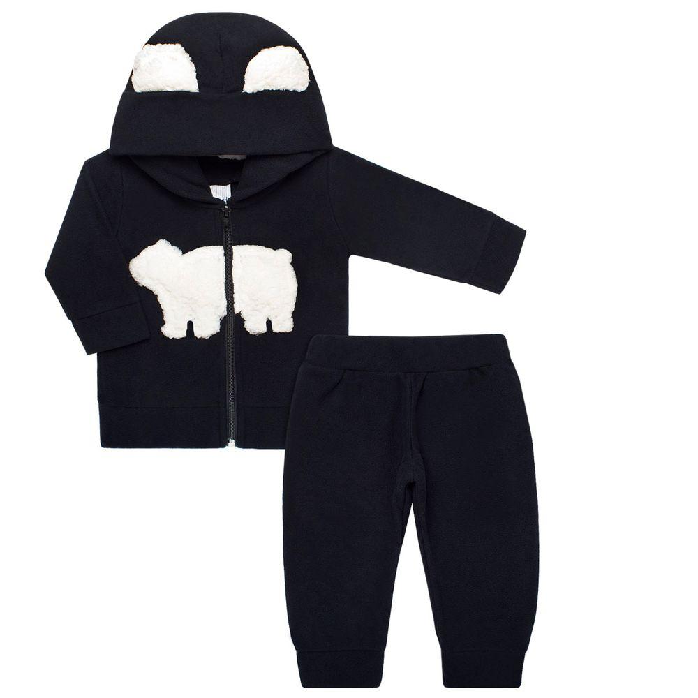 Casaco c  capuz e Calça para bebê em soft Teddy Preto - Time Kids no ... 95f022a7cbb