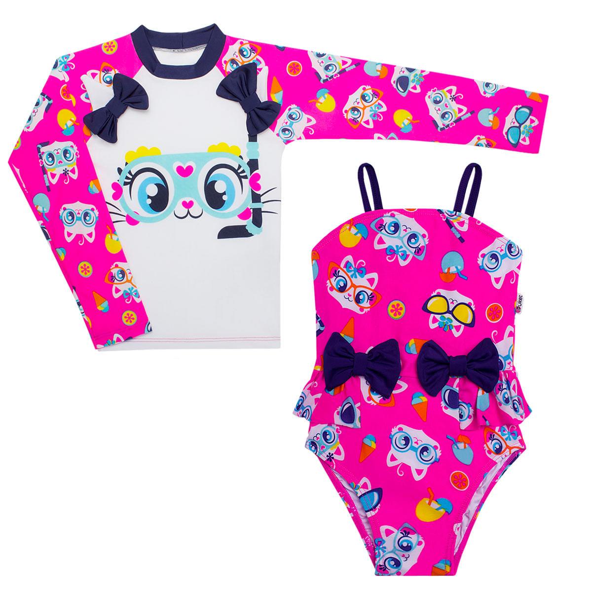 2f338d452a Conjunto de banho infantil Gatinha  Camiseta + Maiô - Puket no ...