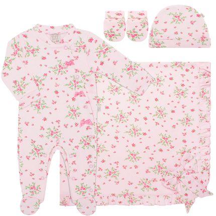 PL65926-A-moda-bebe-menina-jogo-maternidade-macacao-longo-manta-touca-luva-em-suedine--Florzinhas-Pingo-Lele-no-Bebefacil-loja-de-roupas-e-enxoval-para-bebes