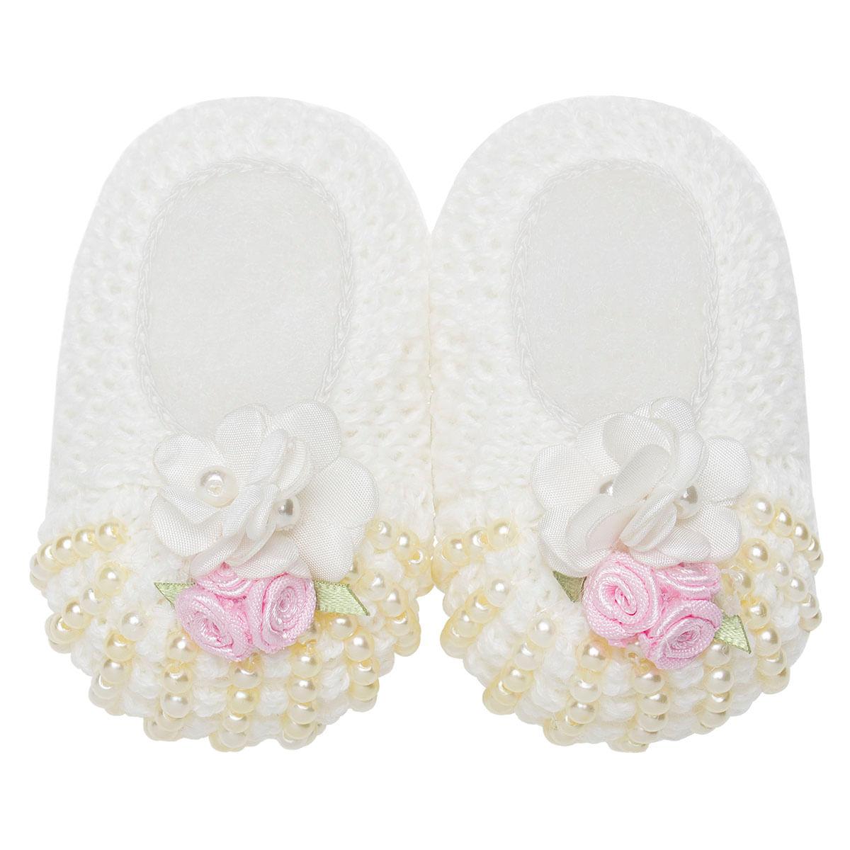 8b2903209 Sapatinho para bebe em tricot Mini Pérolas Marfim/Rosa - Roana - bebefacil