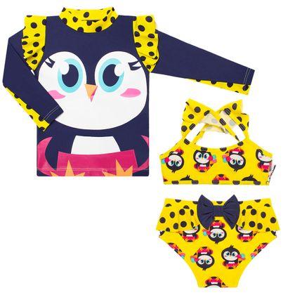Conjunto de banho para bebê Pinguim  Camiseta + Biquini - Puket no ... 5f2577a04bb
