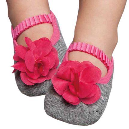 PK7033-ME-Moda-bebe-menina-meia-sapatilha-boneca-com-aplique-mescla-puket